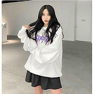 Áo khoác nỉ dành cho nam cho nữ và cặp đôi kiểu Sweater không mũ , form rộng unisex hình chữ có 2 màu trắng đen thumbnail