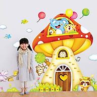 Decal dán tường trang trí lớp học mầm non cho bé- Ngôi nhà nấm thumbnail
