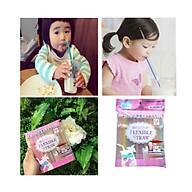 Túi 150 ống hút cong màu sắc Nhật Bản + Tặng gói hồng trà sữa (Cafe) Maccaca siêu ngon thumbnail