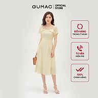 Đầm xòe nữ họa tiết hoa thiết kế cổ vuông bèo GUMAC DB3100 thumbnail