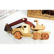 Xe oto gỗ xe múc đồ chơi gỗ tự nhiên không sơn - đồ chơi gỗ thông minh thumbnail