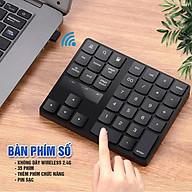Bàn phím số không dây Wireless 2.4G, cho Laptop, thiết bị di động, 35 phím, thêm các phím chức năng, Pin sạc, phím êm Minh House-Hàng chính hãng thumbnail