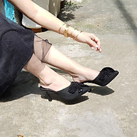 Giày Sục cao gót nữ gót nhọn 7cm cao cấp, mũi nhọn, đính nơ sang trọng, mang êm chân - SụcCaoGót7p thumbnail