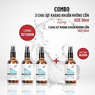 COMBO 3 chai Xịt kháng khuẩn không cồn 50ml TẶNG 1 chai 50ml thumbnail