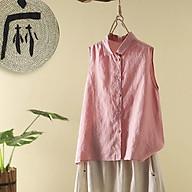 Áo suông vải đũi không tay cổ đức bổ nẹp đính cúc. thumbnail