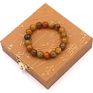 Vòng đeo tay chuỗi hạt đá vân rồng nâu 10 ly 18 hạt kèm hộp gỗ thumbnail