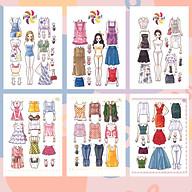Búp bê giấy thay đồ thời trang đồ chơi cắt thủ công cho bé Combo 6 hình siêu đáng yêu 006 thumbnail