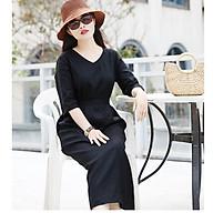 Đầm suông linen cổ tim tay lỡ kèm đai rời ArcticHunter, thời trang thương hiệu chính hãng - Đen thumbnail