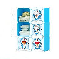 Tủ Nhựa 6 ô - Khung Xanh Trời, Cửa Doremon, Full ô thumbnail