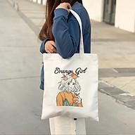 Túi vải canvas hình cô gái quả cam vải trắng dày khóa kéo thumbnail