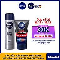 Combo Nivea MEN Sữa rửa mặt Detox Mud Bùn Khoáng - 83940 & Xịt Ngăn Mùi Silver Protect Phân Tử Bạc (150ml) - 82959 thumbnail