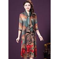 Đầm Suông BigSize Cổ Trụ In Họa Tiết Hoa Và Cá Kiểu Đầm Suông Trung Niên Dự Tiệc Size Lớn ROMI 1521D thumbnail