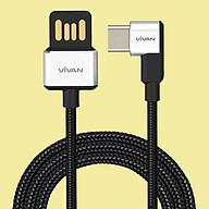 Dây cáp sạc truyền dữ liệu Vivan USB Type C Cáp chữ L gập 90 độ màu Trắng Đen 5V - 3A Gọn Tay Cho thiết bị di động điện thoại Android (Samsung, Xiaomi, LG, vv) - Hàng Chính Hãng thumbnail