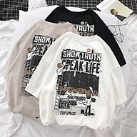 Áo thun tay lỡ nữ SAM CLO freesize phông form rộng dáng Unisex, mặc lớp, nhóm, cặp in chữ SHOW TRUTH thumbnail