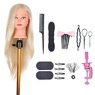 Mannequin Head with Clamp Holder for Braiding Hair Styling Practice Manikin Head for Hairdresser Cosmetology Dummy Hair thumbnail