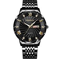 Đồng hồ nam TISSELLY T99 chạy 2 lịch mặt kính cường lực sáng trong sang trọng không thấm nước 3ATM Đồng hồ thạch anh kim dạ quang phát sáng ban đêm dây hợp kim thép không gỉ thumbnail