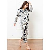 Đồ ngủ mặc nhà nữ Freedy Pijama dài tay hoa xanh đen thumbnail