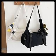 Túi đeo chéo ulzzang trống cỡ lớn có ngăn nhỏ vải canvas thời trang Hàn Quốc thumbnail