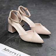 Giày xếp Mũi Nhọn bít hậu Cao 5cm mã CV15 thumbnail