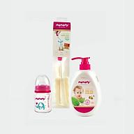 Set Bảo Vệ Hệ Tiêu Hóa Mamamy 01 - 1 Bình sữa Chống Sặc 120ml size M (Xanh), 1 Nước Rửa Bình Sữa 600ml, 1 Bộ cọ rửa bình thumbnail