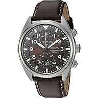 Seiko Men s SNN241 Stainless Steel Watch with Brown Leather Band thumbnail