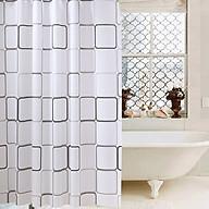 Rèm phòng tắm họa tiết vuông gam màu trắng, kèm theo móc, chống thấm HT718 - 150-180cm thumbnail