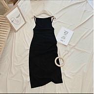 Đầm body nữ 2 dây, váy nữ body hở lưng màu đen cá tính thumbnail