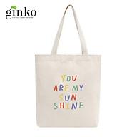 Túi Tote Vải Mộc GINKO Dây Kéo In Hình YOU ARE MY SUNSHINE M29 thumbnail
