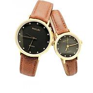 Cặp Đồng Hồ Nam Nữ Halei HL542 Dây da nâu (Tặng pin Nhật sẵn trong đồng hồ + Móc Khóa gỗ Đồng hồ 888 y hình) thumbnail