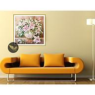 Tranh treo tường lọ hoa ly hồng, phong cách sơn dầu,in canvas sang trọng PVP-DC1V-03 thumbnail
