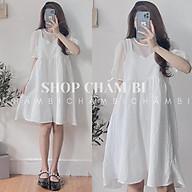 Váy trắng hai dây V.088, Váy yếm babydoll hai dây kèm áo voan tơ cộc tay trắng rời (có thể tách set) thumbnail