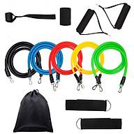 Dụng cụ tập gym - dây cao su kháng lực 11 chi tiết tập thể hình tại nhà có túi đựng (tặng băng cổ tay) thumbnail