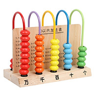 Wooden Abacsu 5 Frame Counter Educational Couting Toy 50 Beads for Kids Toddlers Preschoolers thumbnail