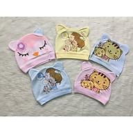 Combo 5 mũ cotton sơ sinh cao cấp cho bé giao màu ngẫu nhiên thumbnail