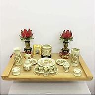 Combo bộ bàn thờ treo tường đầy đủ gỗ PM và bộ bát nhang thờ Thổ Công,bao gồm đèn thờ và bộ đồ thờ bằng gốm sứ rồng vàng (tặng kèm 1 đôi đèn cánh sen đỏ và 1 tấm chống ám khói nhang) thumbnail