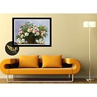 Tranh treo tường tĩnh vật, lọ hoa sang trọng, phong cách sơn dầu,in canvas , kèm khung siêu nhẹ PVP-DC1V-04 thumbnail