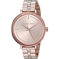 Michael Kors Women s Bridgette Stainless Steel Watch, three hand quartz movement with crystals on dial thumbnail