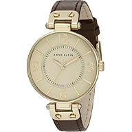 Anne Klein Women s 109168IVBN Gold-Tone and Brown Leather Strap Watch thumbnail