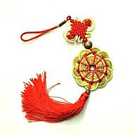 Chuỗi tiền xu hoa mai phát lộc 10 đồng nhỏ và 1 đồng đại dây tết đỏ vàng kèm 1 hạt kim loại trang trí CT09 thumbnail
