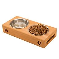 Bát ăn đôi gỗ tre cho mèo thumbnail