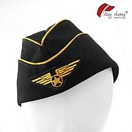 Mũ nón tiếp viên hàng không màu đen viền vàng thời trang thumbnail