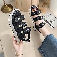 (3 MÀU) Sandal nữ thời trang Ulzang 3 hoa cúc đế cao 3 phối màu đẹp trẻ trung Đen Kem Xanh thumbnail