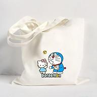 Túi vải đeo vai Tote Bag in hình Doraemon và Hello Kitty - Màu trắng - MS ABXDANH004 thumbnail