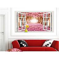 decal dán tường cửa sổ hoa anh đào thumbnail