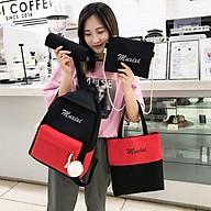 Balo nữ combo 4 món đi học thời trang sinh viên học sinh ba lô set cặp thời trang Set 4 Món M-Xixi balo nữ vải thumbnail