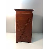 Đế kê tượng gỗ hương khắc hoa sen n09 thumbnail