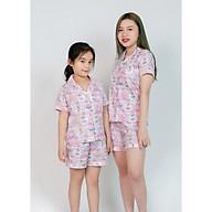 Pijama Mẹ và bé màu hồng tím hình cô gái thumbnail