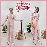 Bộ lụa Pijama NHIHOUSE71 Bộ Quần Dài Tay Ngăn Lụa Satin In Chú Tuần Lộc Noel Dễ Thương thumbnail