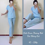 Đồ Mặc Nhà, Đồ Bộ Nữ Dài, Kẻ Sọc Chất Linen Mịn Mát, Không Nhăn, May Kỹ, Vải Đẹp thumbnail