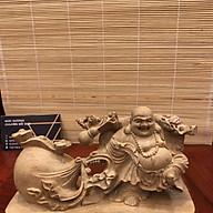 Tượng Phật Di Lặc Kéo Bao Tiền Gỗ Bách Xanh Thơm thumbnail